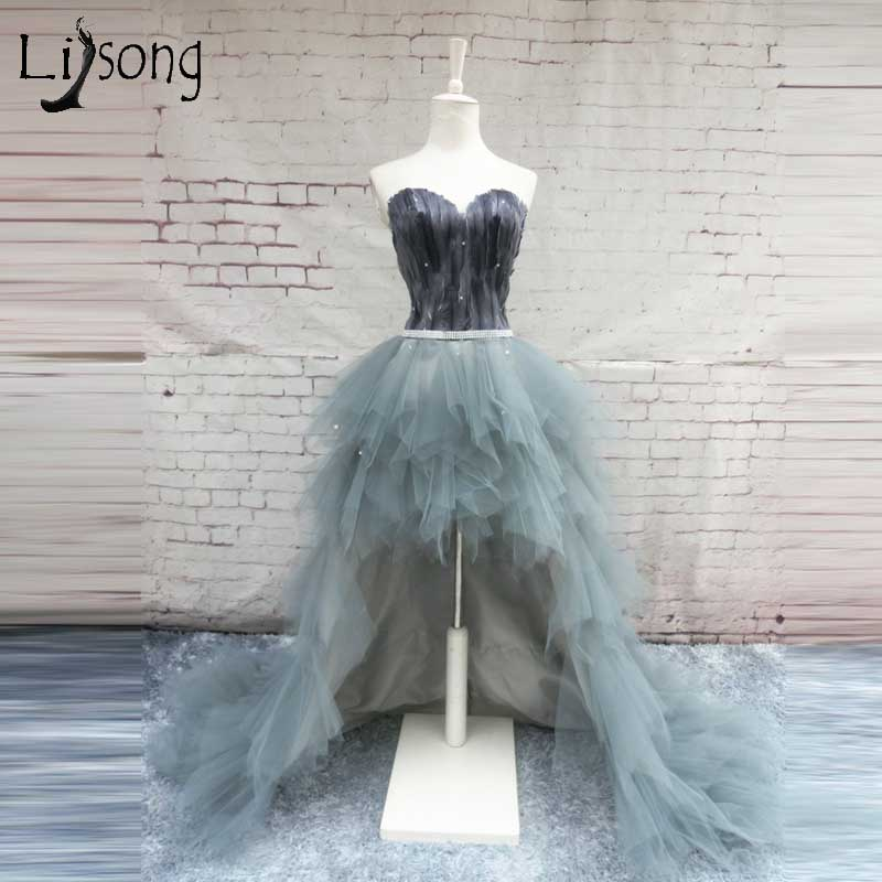 Vintage High Low Feather   Evening     Dresses   2018 Crystal Sash Sweetheart Lace Up Pluse Size Prom Gown Ruffles Tiered Abendkleider