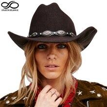 INFINITLOVE 100% Wool Felt Womem Men Western Cowboy Hat With Wide Brim Punk Leather Belt Jazz Cap (One Size:57cm/US 7 1/8)