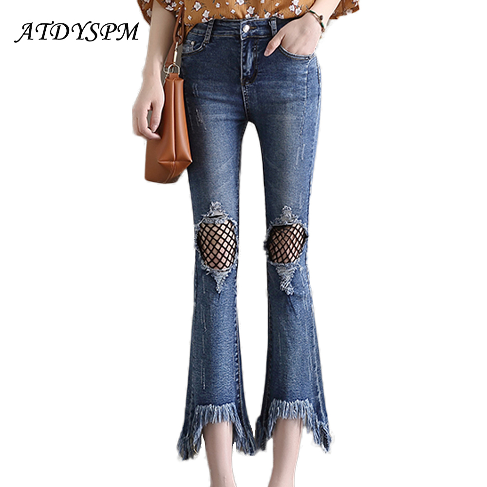 2017 Women Ripped Denim Pants Jeans Holes Fishnet Skinny Sexy Bottom Female Tassels Flares Nine-Pants Summer Cotton Leggings summer women fashion embrodiery flower pockets denim scratched ripped jeans shorts patch fishnet short pants for female gd3756
