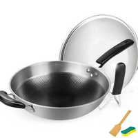 [TB11]German stainless steel wok no oil smoke household non stick pan flat bottom wok uncoated induction cooker gas universal