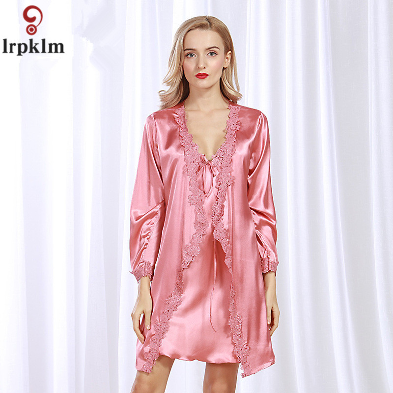 Wine Red Bridesmaid Robes Gown Sets Sexy Lace Robe Womens Sleepwear Sleep Suits Pajama Sets Womens Nightwear Night Skirts SY13