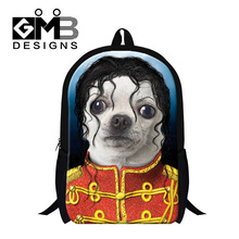 2016 new design personalized animal dog printing backpacks for elementary students funny style ultralight school bags for teens