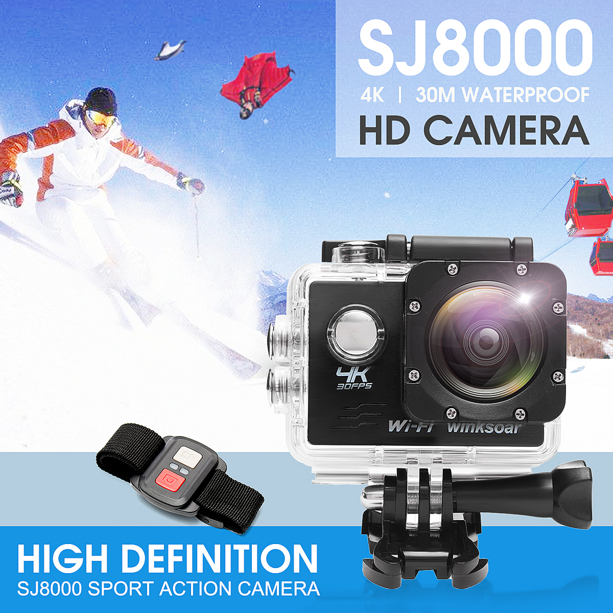 4K SJ8000R Wifi Ultra HD 1080P Sport DV Action Camera Camcorder+Remote Control Black/White/Yellow/Blue/Grey Wide Angle Lens 16x zoom digital camera dv wifi 4k 1080p camcorder mic wide angle lens uk