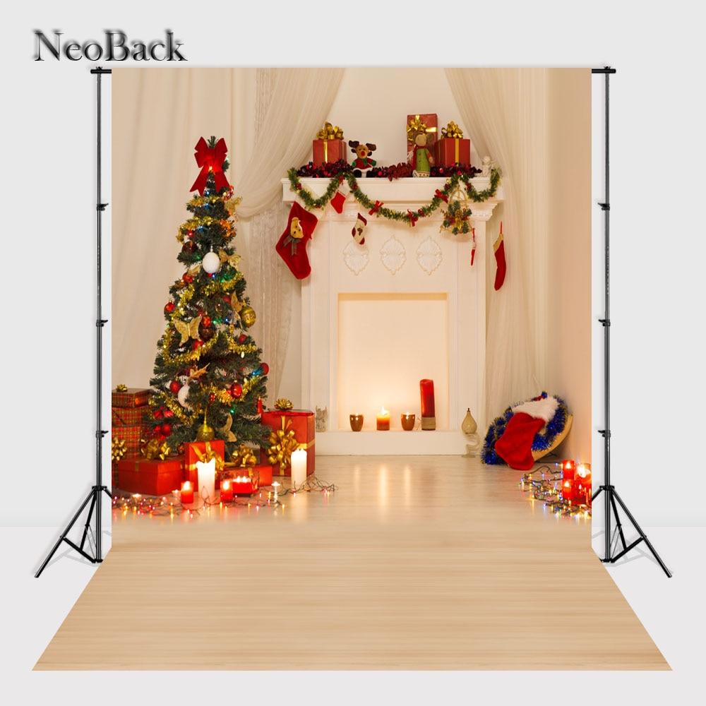 NeoBack 3x5ft 5x7ft Santa Christmas tree fireplace vinyl Photographic backgrounds holiday scene Studio Photo backdrops P1039 палатка holiday 3 кт3018