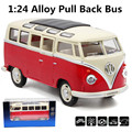 Volkswagen Diecast Metal model,1:24 Alloy pull back volkswagen bus,gift toy cars,alloy car toys,free shipping