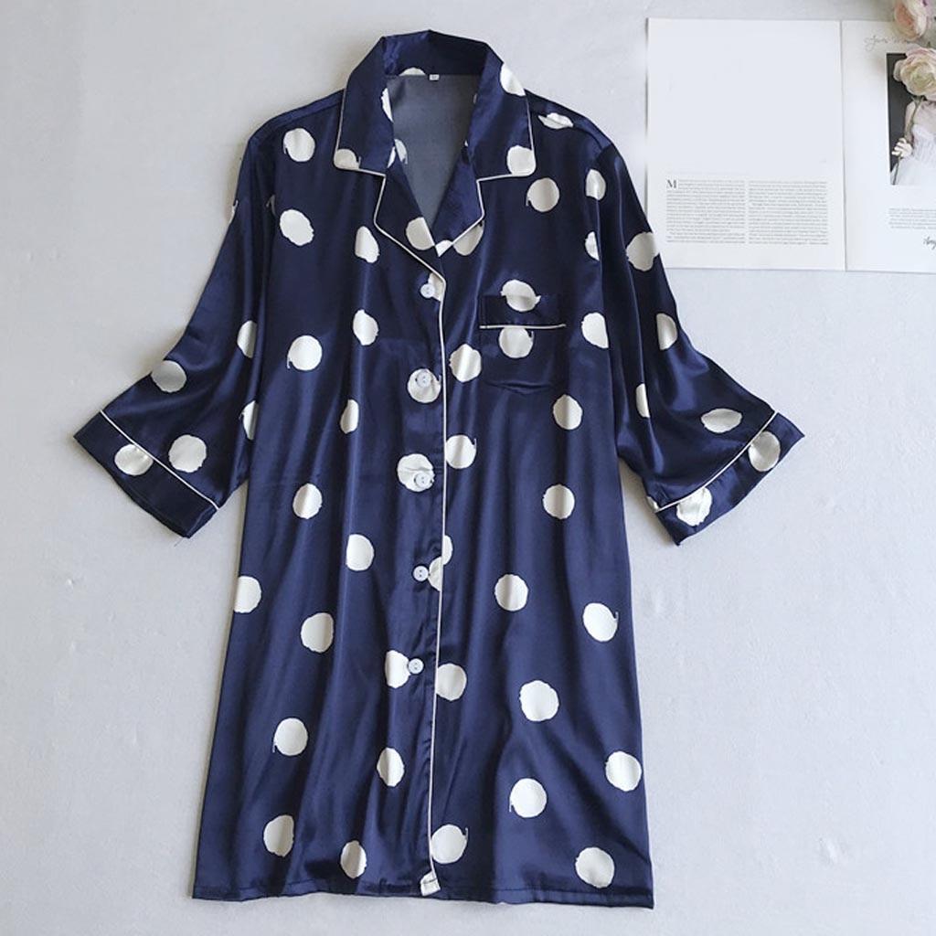Polka Dot Bathrobe Button Summer Women Nightgown Robes Long Sleeve Sexy Silk Plus Size Wimen Sleep Beach Spa Night Nightwear