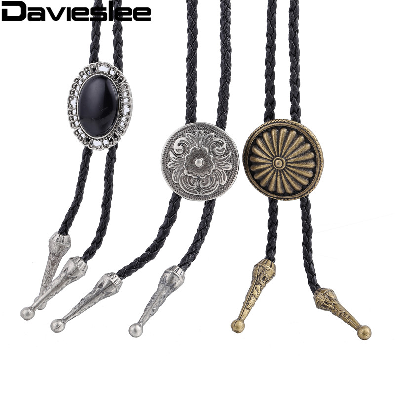 Davieslee Mens Manmade Leather Necklace Chain Flower