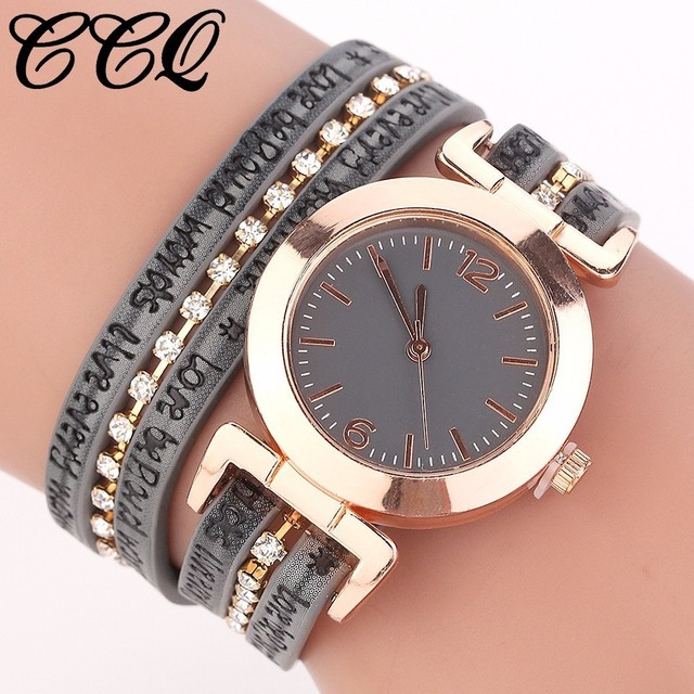 Hot Fashion Women Gold Chain Leather Bracelet Watch Casual Ladies Analog Quartz