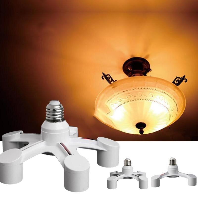 E27 3 in 1 360 Degree LED Base Holder Socket Light Bulb Converter White Flexible Lampenfassungen Adapter
