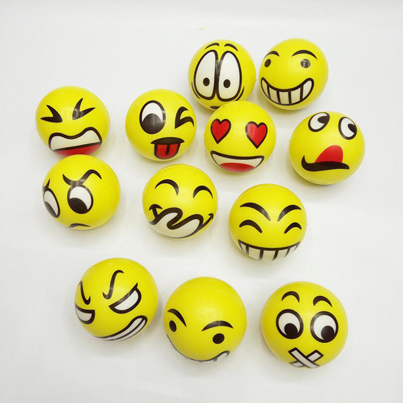1PCS Funny Smiley Face Anti Stress Reliever Ball For Kids Autism Mood Toys Squeeze Relief For Children Balls Toy OTB02