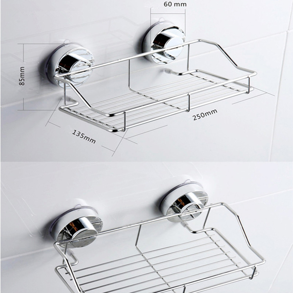 Stainless Steel Kitchen Bathroom Shower Shelf Storage Suction Basket Caddy Rack Holder  Bathroom Products  XX21
