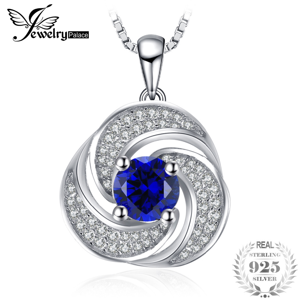 JewelryPalace luxury 1.9ct Created Sapphire Pendant Necklace Genuine 925 Sterling Silver Pendant For Women Not Include A Chain