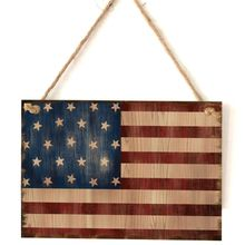 Vintage Wooden Hanging Plaque American Flag Sign Board Wall Door Home Decor Independence Day Party Gift