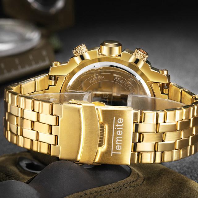 TEMEITE Creative Golden Men Quartz Wristwatches 3D Dial Design Full Steel Calendar Waterproof Big Watches Top Brand Luxury Clock
