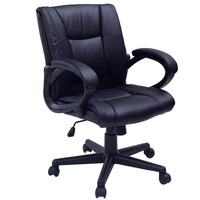 COSTWAY PU Leather Ergonomic Office Chair Armchair Executive Chair Boss Lift Chair Swivel Chair Office Furniture CB10058