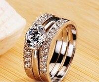 Free Shipping New Hot Luxury Quality Stamp Pt950 NSCD Synthetic Diamond Wedding Ring Set Wedding Set