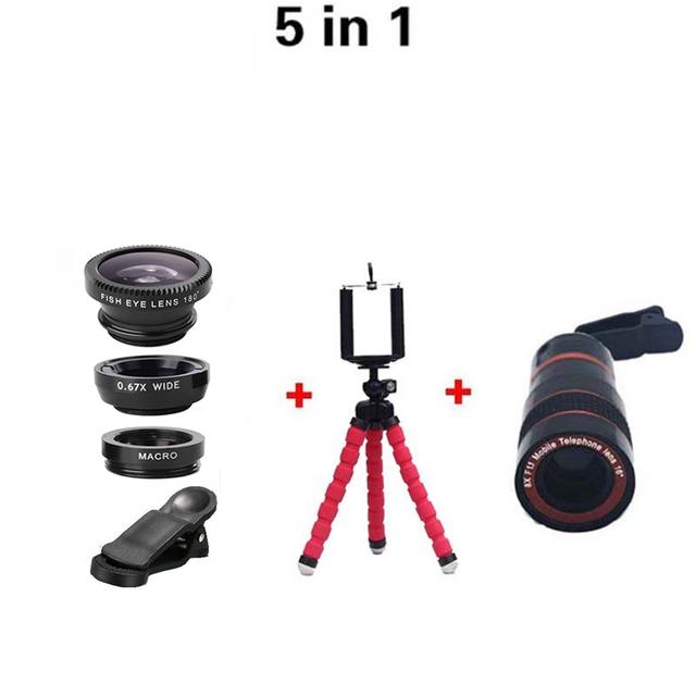 Lente Zoom 8X Lente Teleobjetiva Câmera Kit Câmera Olho de Peixe Grande Angular lentes macro + tripé flexível para iphone 6 s samsung huawei htc