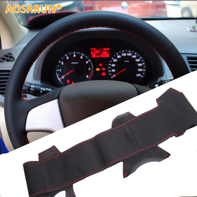 AOSRRUN Car accessories Genuine leather Car Steering wheels <font><b>cover</b></font> For <font><b>Hyundai</b></font> Solaris i25 i20 Accent 2009-2014 sedan hatchback