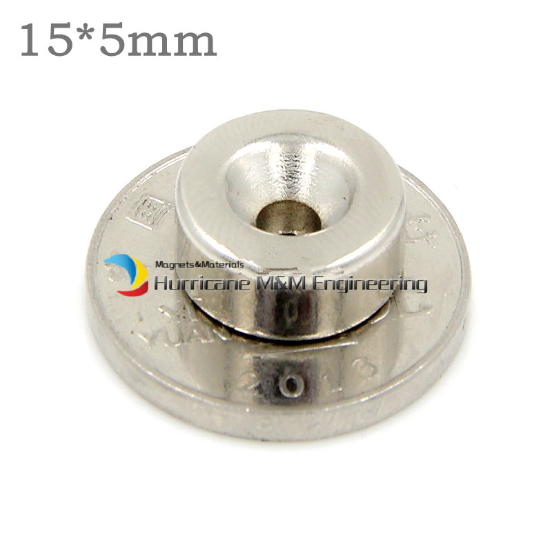 12 Pc Ndfeb Versenkt Magnet über Dia. 15x5mm Dicken 5mm Schraube Senkkopf Loch Neodym Rare Earth Permanent Magnet
