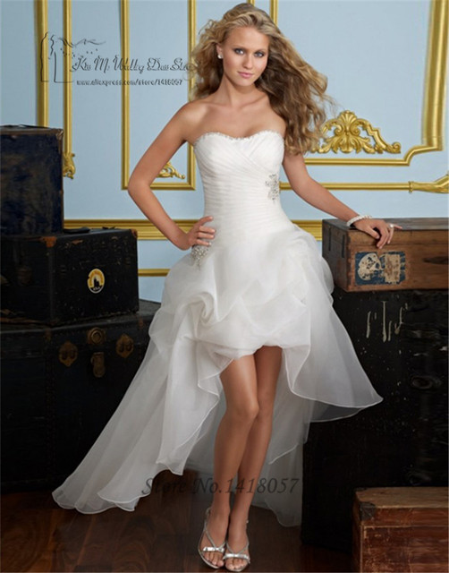Cheap Organza High Low Wedding Dresses 2016 Beaded Lace Up Back Plus