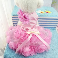HYLWFTEP Summer Designer Pet Costume Dog Wedding Dress Beautiful Rose Puppy Dog Tutu Dress Purple Pink