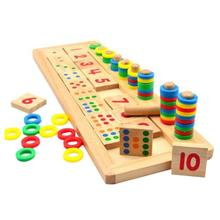 Puzzle wooden Toy Preschool Toy Children Wooden Toys Dominos Counting and Board Stacking Educational toys(China)