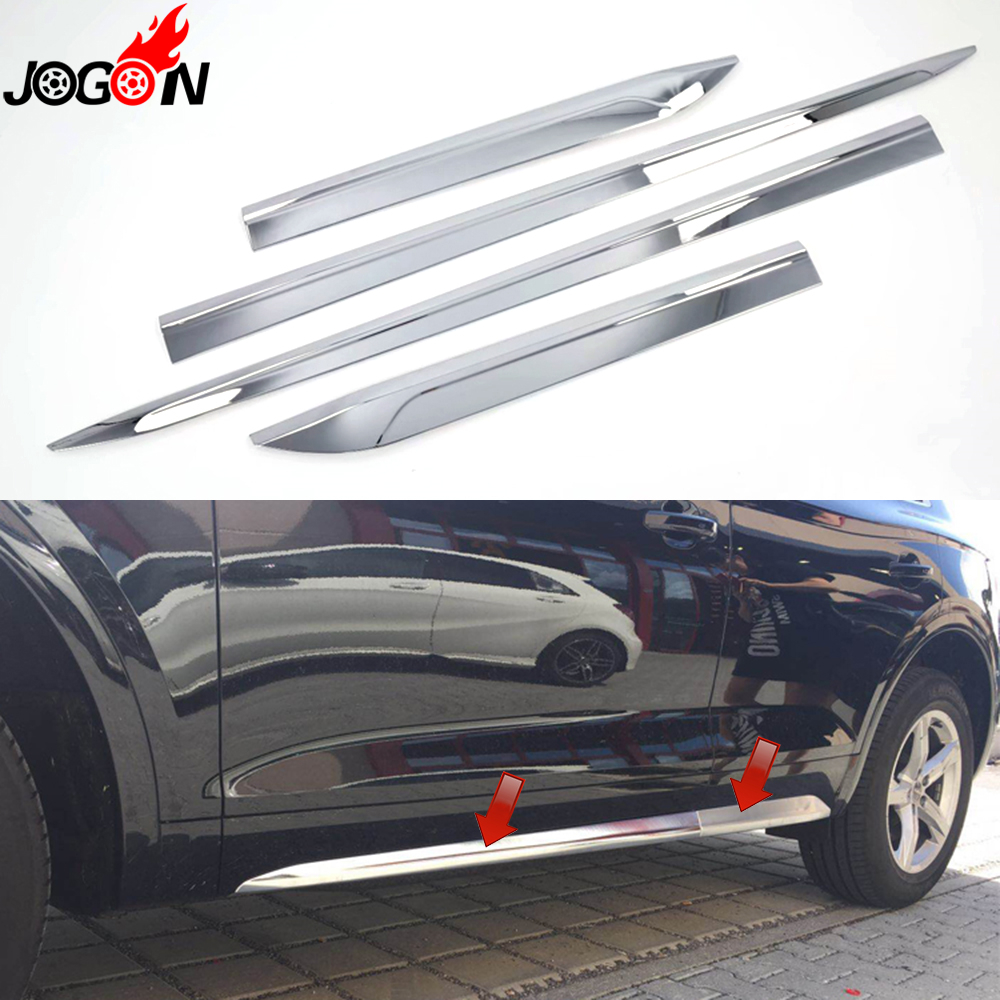 Bright ABS Chrome For Audi Q5 FY 2018 2019 Car Styling Door Side Body Strip Molding Cover Trim Accessories аудиомагнитола hyundai h pcd140 черный серый 4вт cd cdrw mp3 fm dig usb sd mmc
