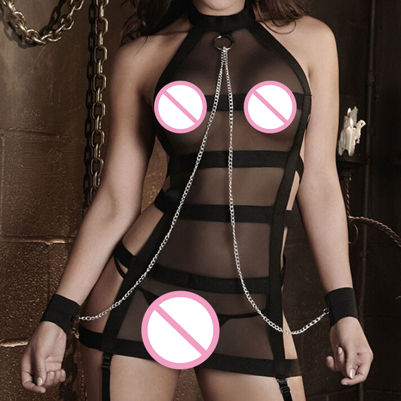 <font><b>2018</b></font> New Women Sexy Lingerie Hot Porn Lace Handcuff Lingerie Baby <font><b>Doll</b></font> Sexy Costumes Shackle Bundled <font><b>Sex</b></font> Products Exotic Apparel image