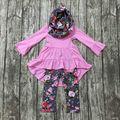 2016 детские ОСЕНЬ/Зимний шарф устанавливает костюм детей новорожденных девочек цветочные одежда девочек 3 шт. бутик одежда дети цветочные наряды