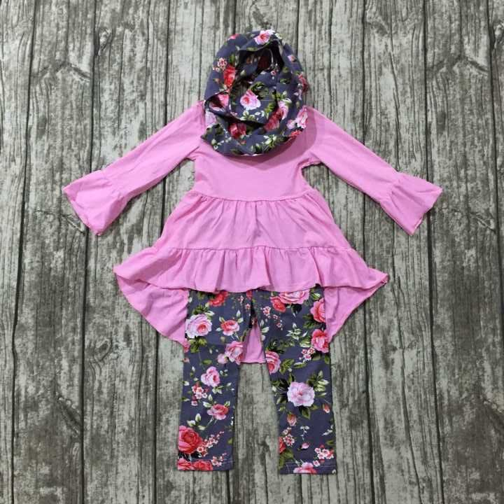 2016 baby FALL/Winter scarf sets children suit baby girls floral clothing girls 3 pieces boutique clothes kids floral outfits