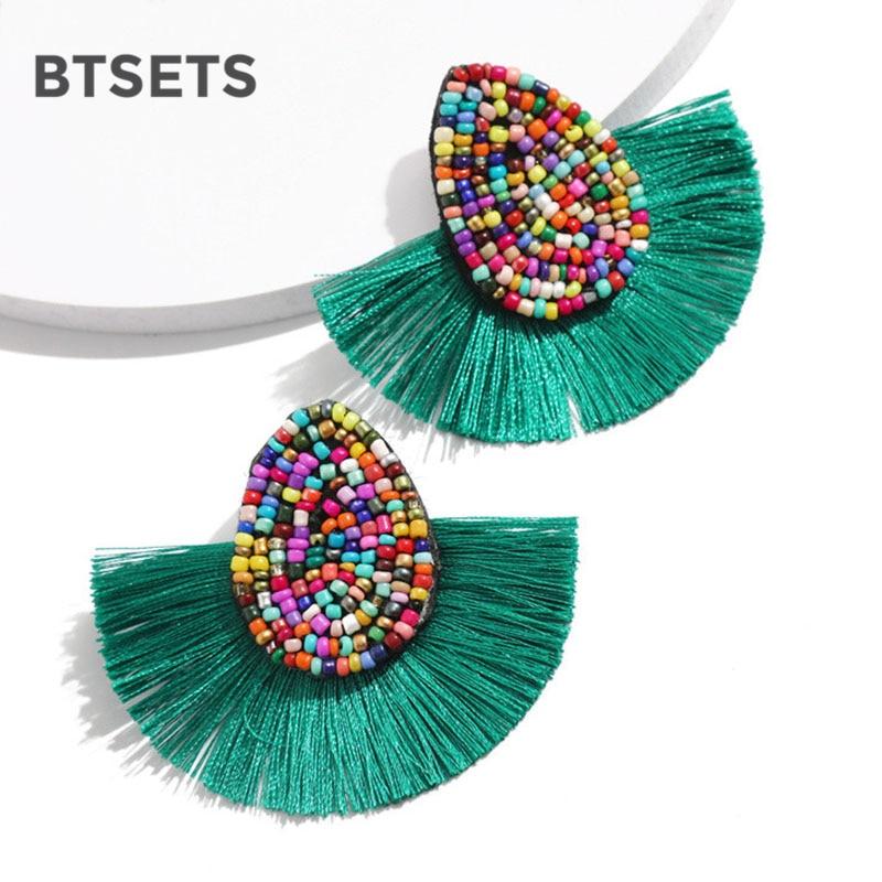 Bohemian Beaded Tassel Earrings for Women Green Big Statemen
