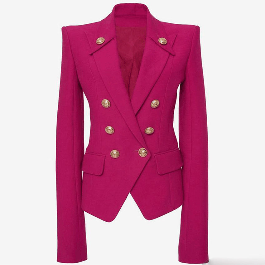 HIGH QUALITY Newest 2019 Designer Blazer Women's Collar Buttons Double Breasted Metal Buttons Blazer Outer Wear