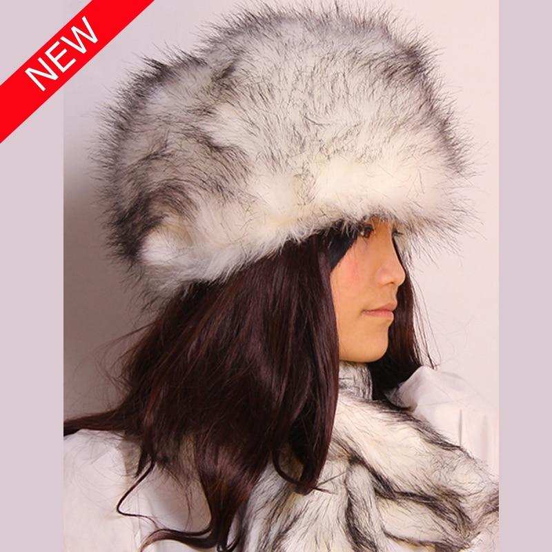 2019 Hot Sale Women Warm Winter White Black Tip Faux Mink Fur Hat Rabbit Fur Hat Female White Grey Free Shipping