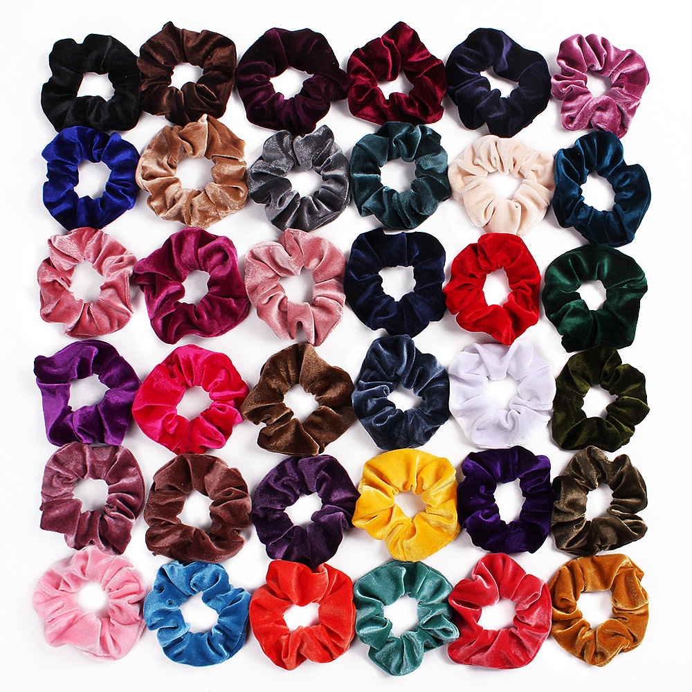 Solid Color Velvet Scrunchie Women Lady Girls Elastic Hair Rubber Bands Accessories For Women Tie Hair Ring Rope Ponytail Holder