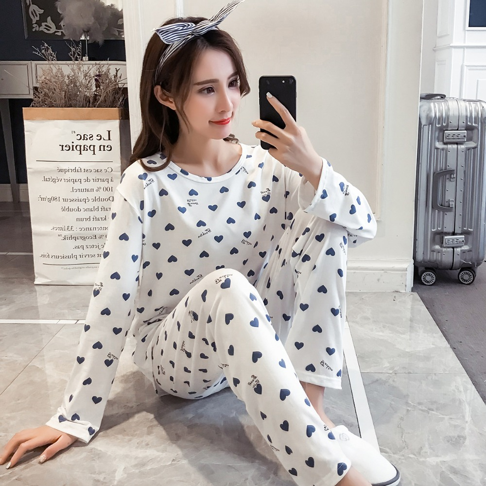 Women Pajamas 2/pcs Sets Sexy Imitation Cotton Pyjamas Set Longsleeve Top+ Long Pants Women Lounge Sleepwear Pijama Pajamas Suit