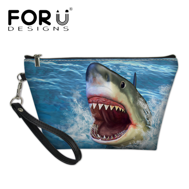 FORUDESIGNS Cool 3D Shark/Wolf Printing Girls Small Makeup Bags Luxury PU  Leather Ladies Cosmetic Organizer Women Toiletry Bags