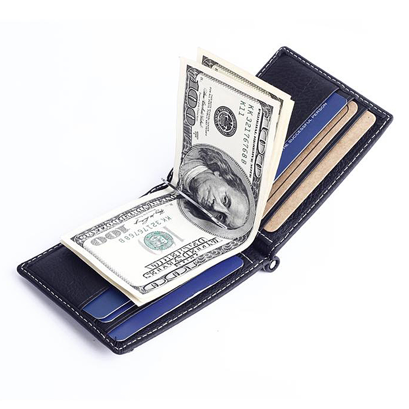 Hot Sale Fashion New Casual Genuine Leather Black Coffee Personality Design Cross Style Money Clips For Young Men Free Shipping