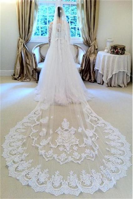 2016 Hot Selling 3 Meters Bridal Veils Long White Appliqued Wedding Veils Beautiful One-Layer Lace Edge Wedding Accessories