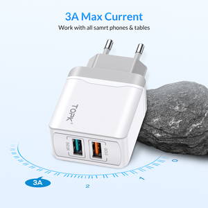 Image 4 - Caricabatterie USB TOPK B244 Quick Charge 3.0 18W per iPhone Xs X 8 7 caricabatterie rapido per telefono Samsung Xiaomi caricatore da muro EU