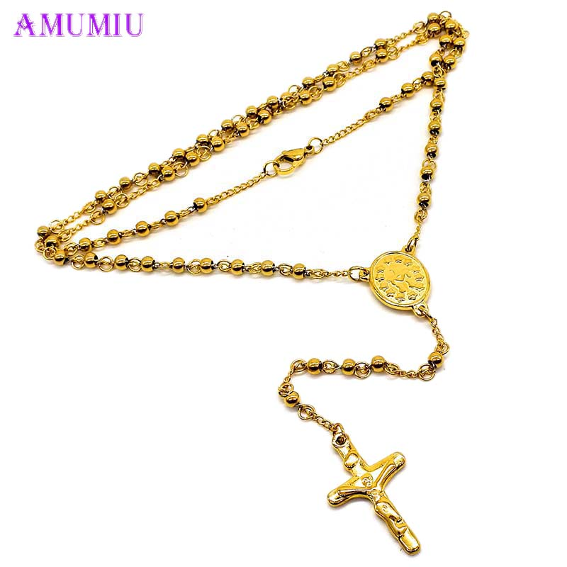 AMUMIU Stainless Steel Cross Rosary Pendant Necklace Long Keychain Gold Black Colorful Jewelry Wholesale For Women Men N013