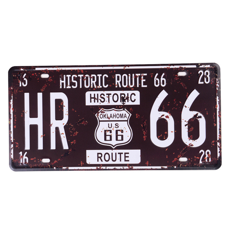 30 15CM USA Vintage Metal Tin Signs Route 66 Car Number Vintage Garage License Plate Plaque Poster Club Wall Home Decoration C1 in Plaques Signs from Home Garden