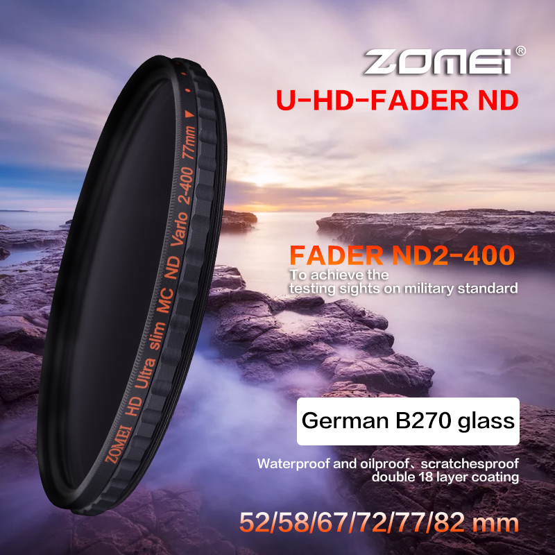 ZOMEI HD Slim Adjustable Fader ND2 400 Filter Neutral Density ND Optical Glass For Canon Nikon