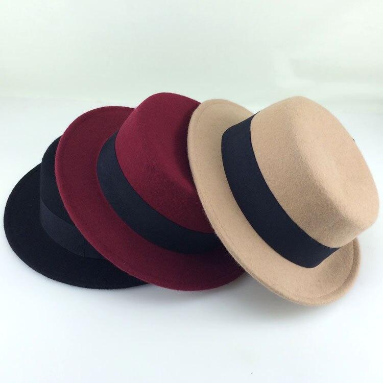 3214b54a49850 2015 new men fedora hat Wool Felt Boater Hats Winter Women Woolen Flat Top  Hat chapeau casquette JD-164