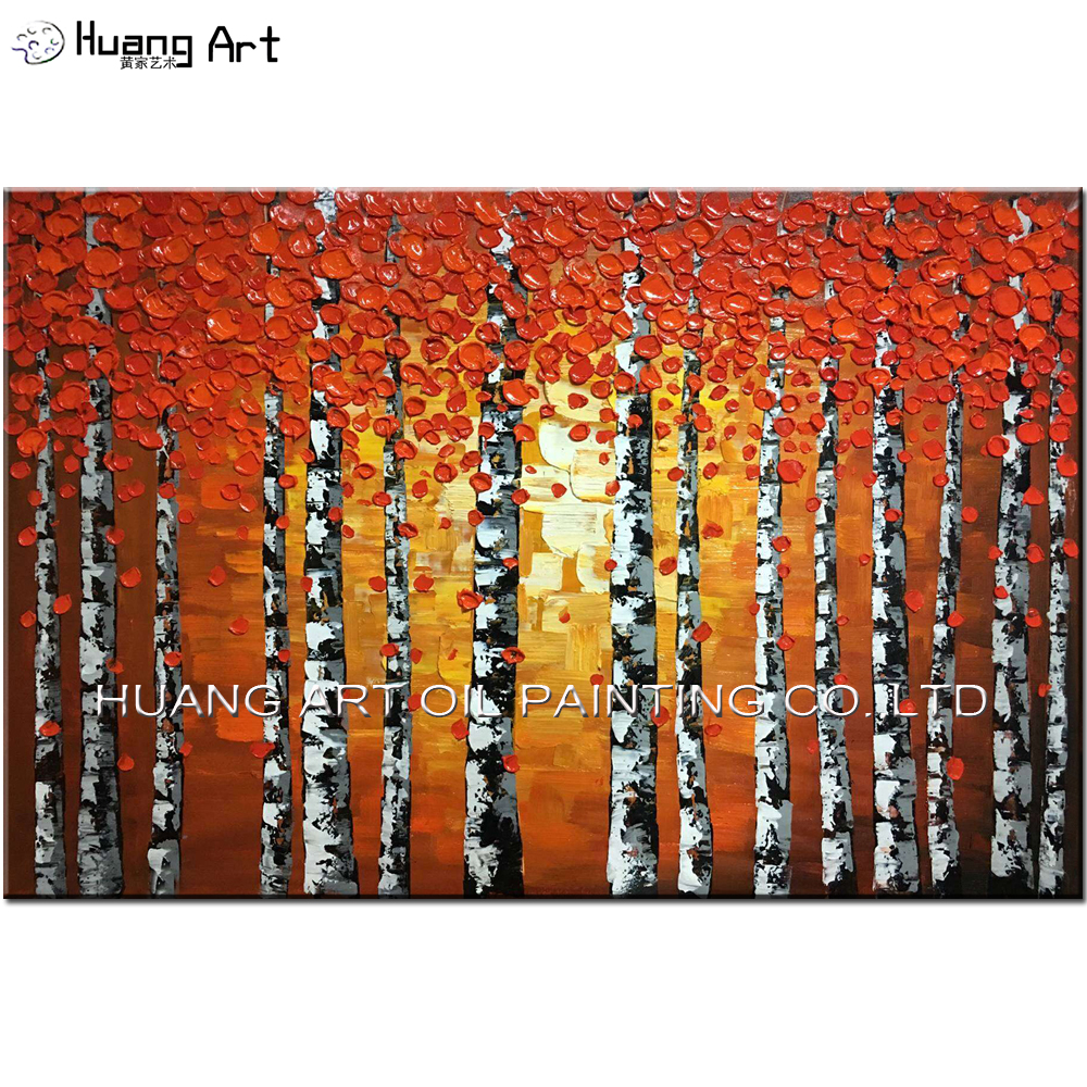 Hand Painted Knife Red Tree Oil Painting Modern Thick Oil Landscape Paintings For Living Room Decor Birches Canvas Pictures in Painting Calligraphy from Home Garden