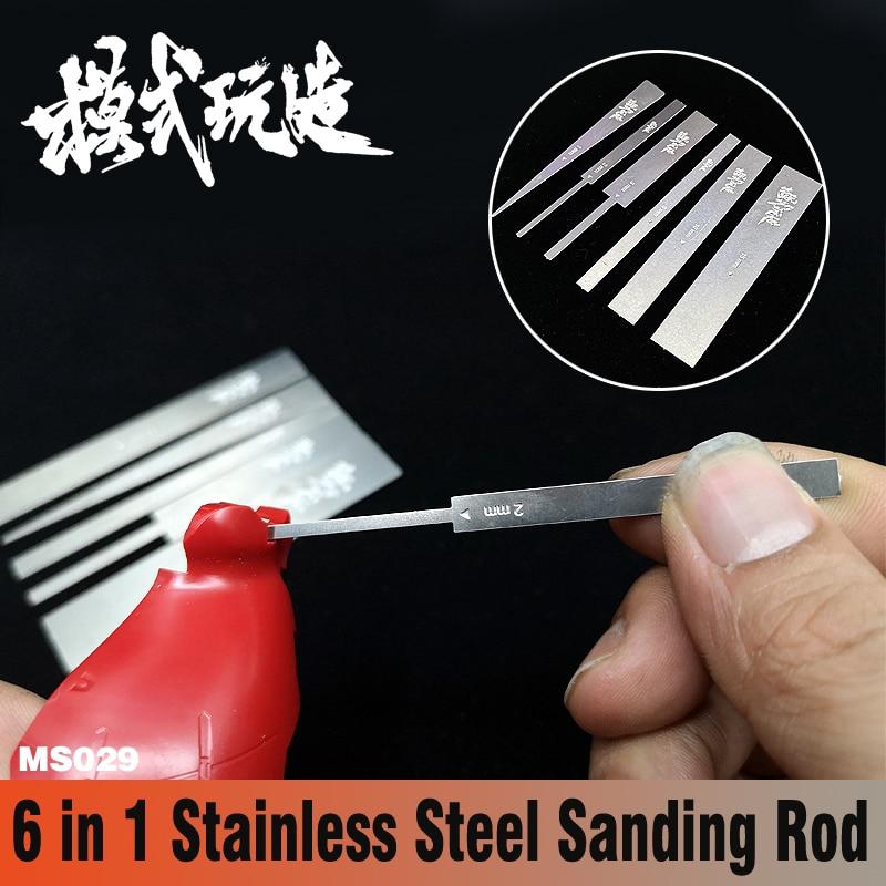 Gundam Military Model 6 In 1 Stainless Steel Sanding Rod Fine Polishing Article Hobby Grinding Tools
