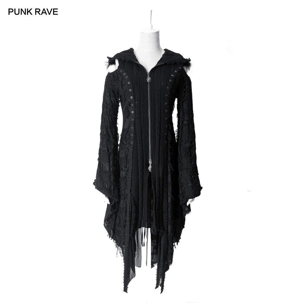펑크 레이브 여성 마녀 후드 니트 스웨터 코트 고딕 로리타 다크 하라주쿠 카디건 비주얼 케이 여성 롱 자켓 드레스-에서가디건부터 여성 의류 의  그룹 1