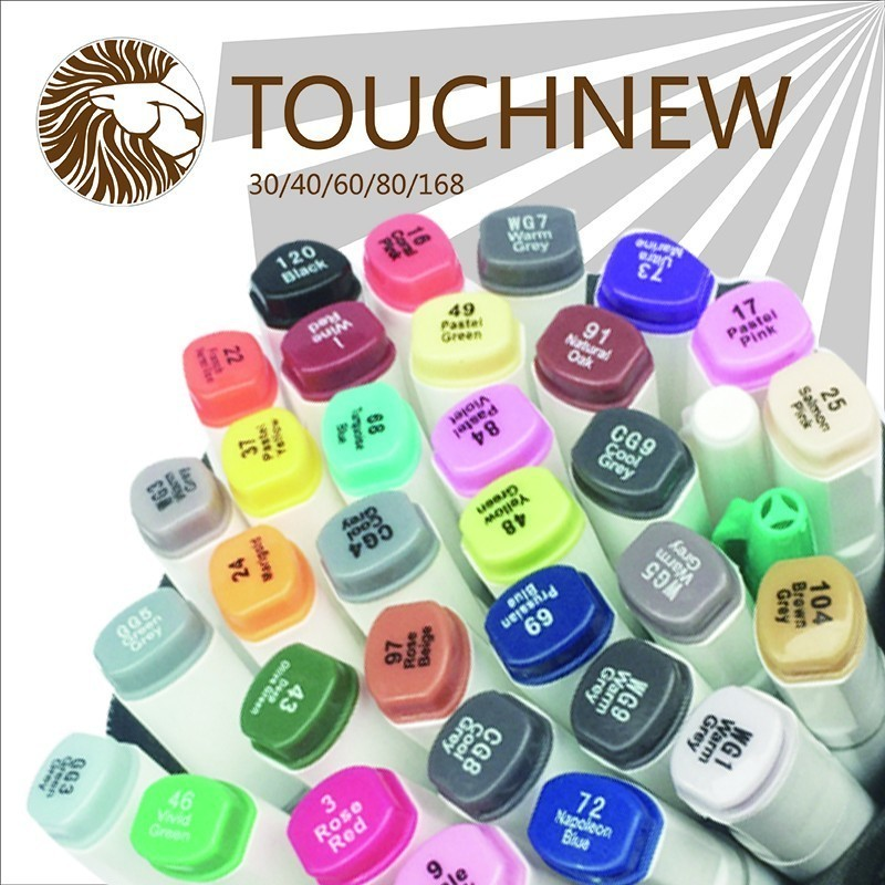 TOUCHNEW 60 80 pics/lot brand art marker pen oily alcohol Double Headed Professional Design painting Artist Sketch marker set