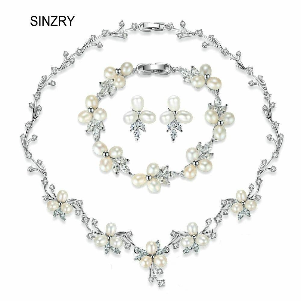 SINZRY elegant bridal jewelry set natural freshwater pearl flower choker necklace earring bracelet set wedding jewelry