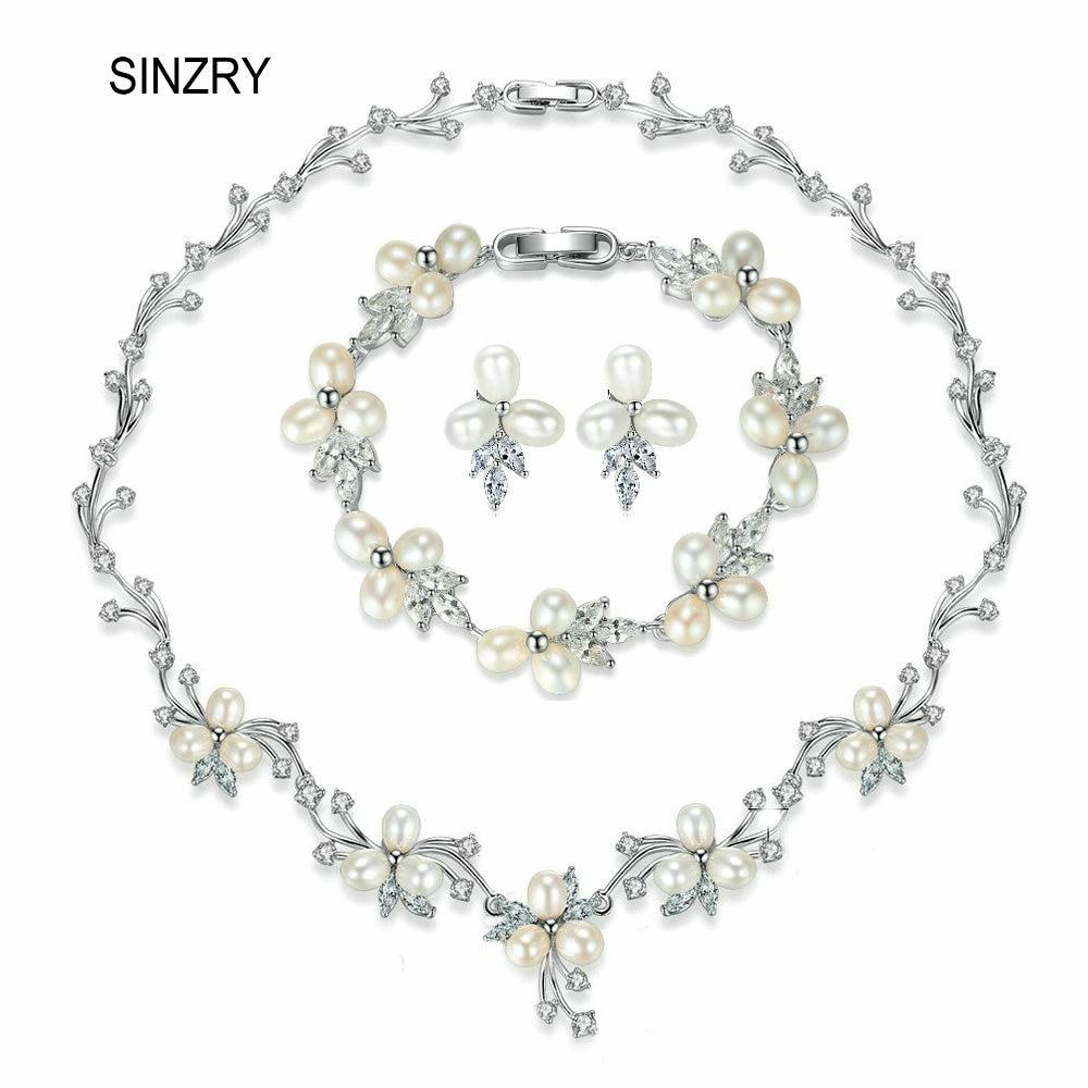 SINZRY élégant ensemble de bijoux de mariée naturel perle d'eau douce fleur ras du cou collier boucle d'oreille bracelet ensemble de bijoux de mariage accessoire