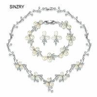 SINZRY elegant bridal jewelry set natural freshwater pearl flower choker necklace earring bracelet set wedding jewelry accessory